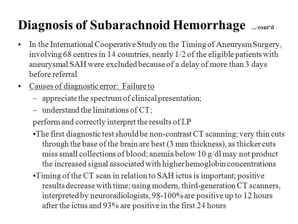 Diagnosis of Subarachnoid Hemorrhage .../cont'd