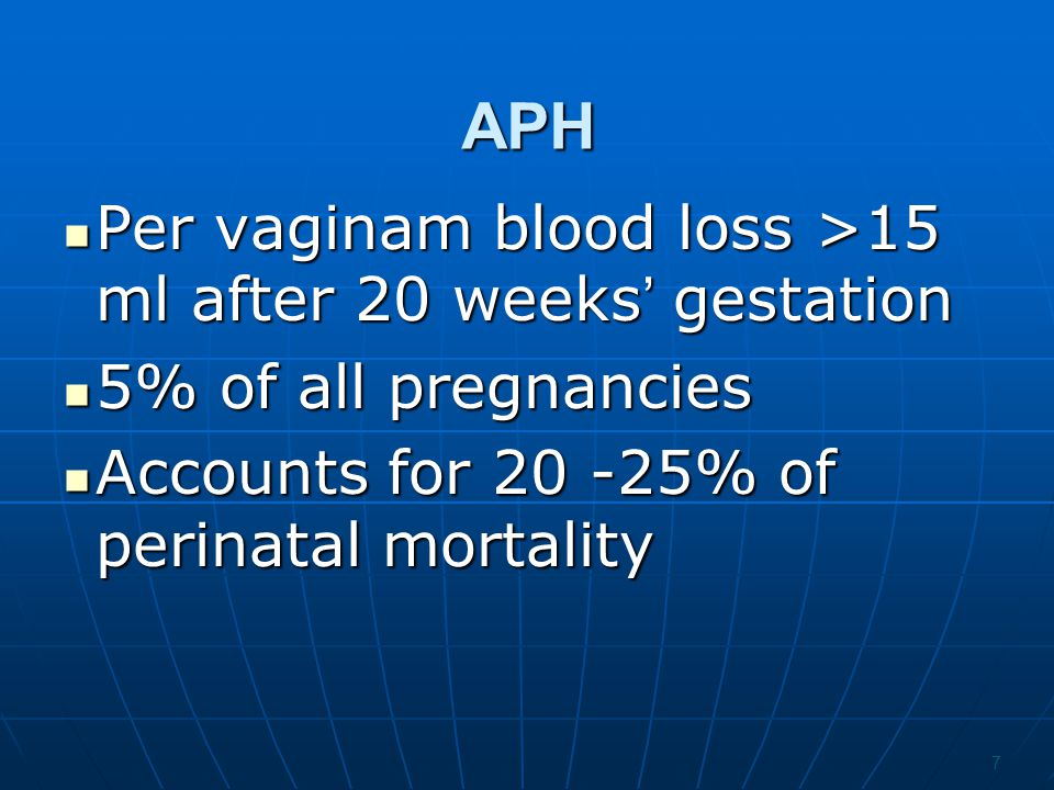 APH Per vaginam blood loss >15 ml after 20 weeks' gestation