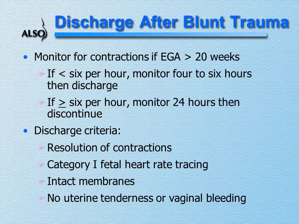 Discharge After Blunt Trauma