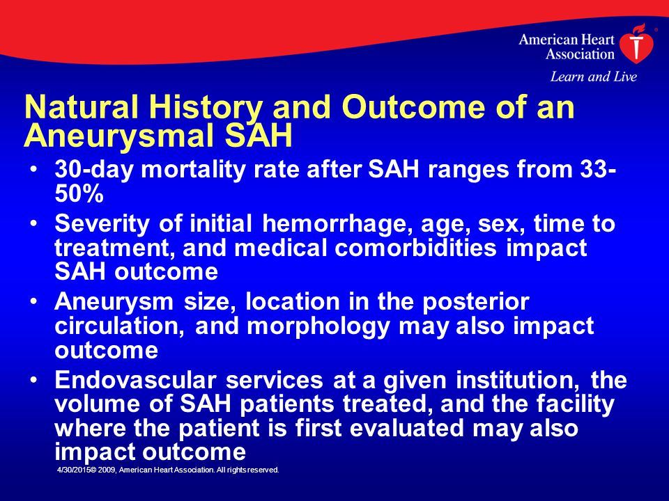 Natural History and Outcome of an Aneurysmal SAH