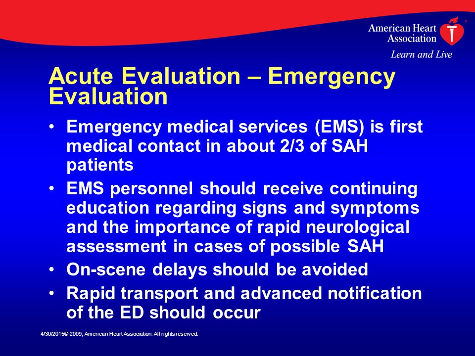 Acute Evaluation – Emergency Evaluation