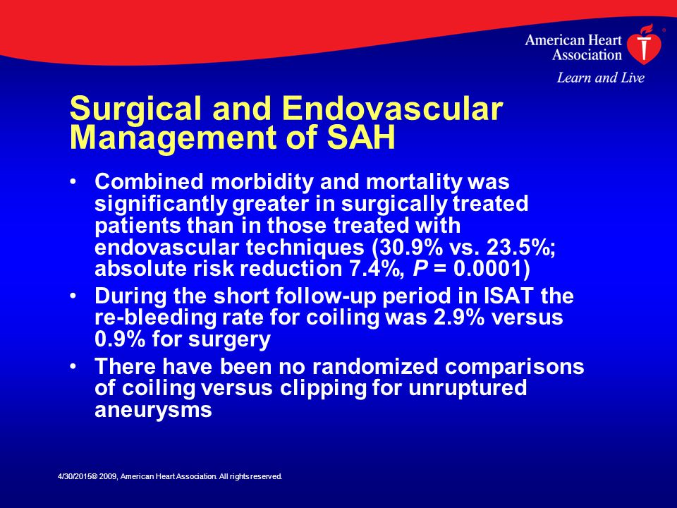 Surgical and Endovascular Management of SAH