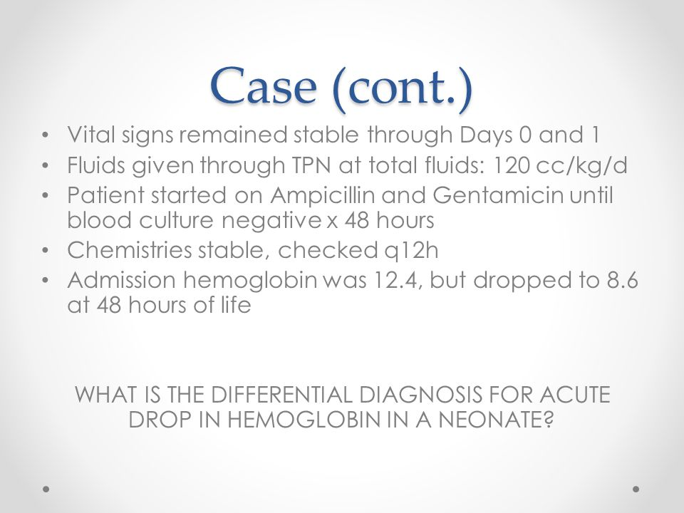 Case (cont.) Vital signs remained stable through Days 0 and 1