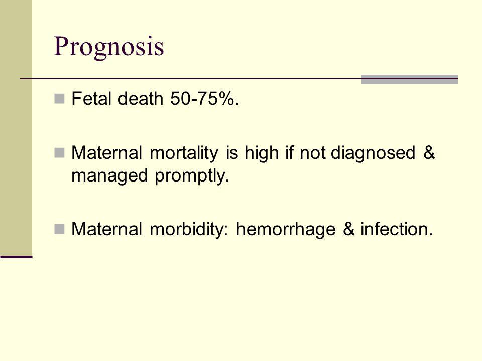 Prognosis Fetal death 50-75%.