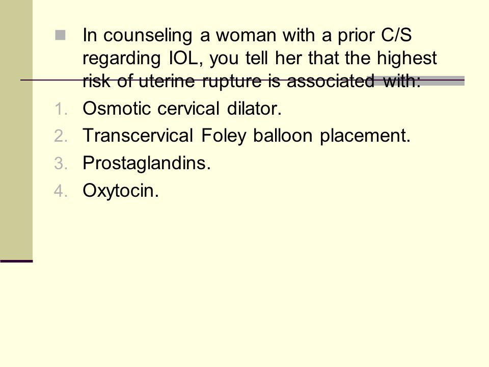 In counseling a woman with a prior C/S regarding IOL, you tell her that the highest risk of uterine rupture is associated with: