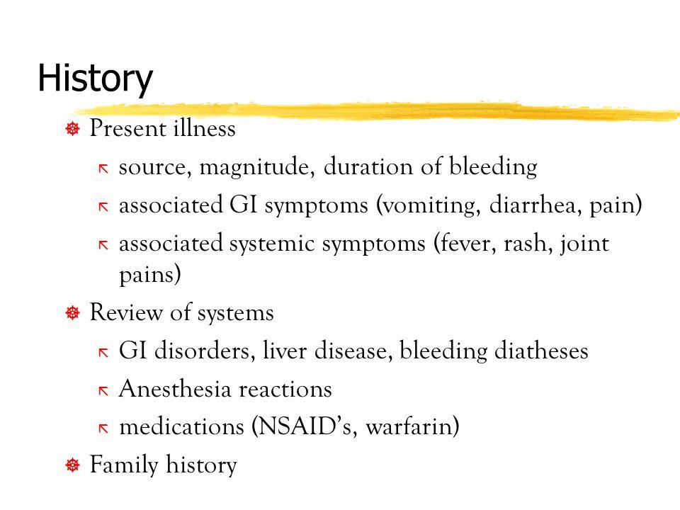 History Present illness source, magnitude, duration of bleeding
