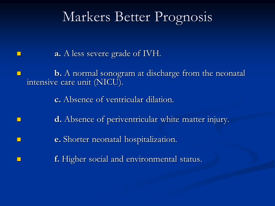 Markers Better Prognosis