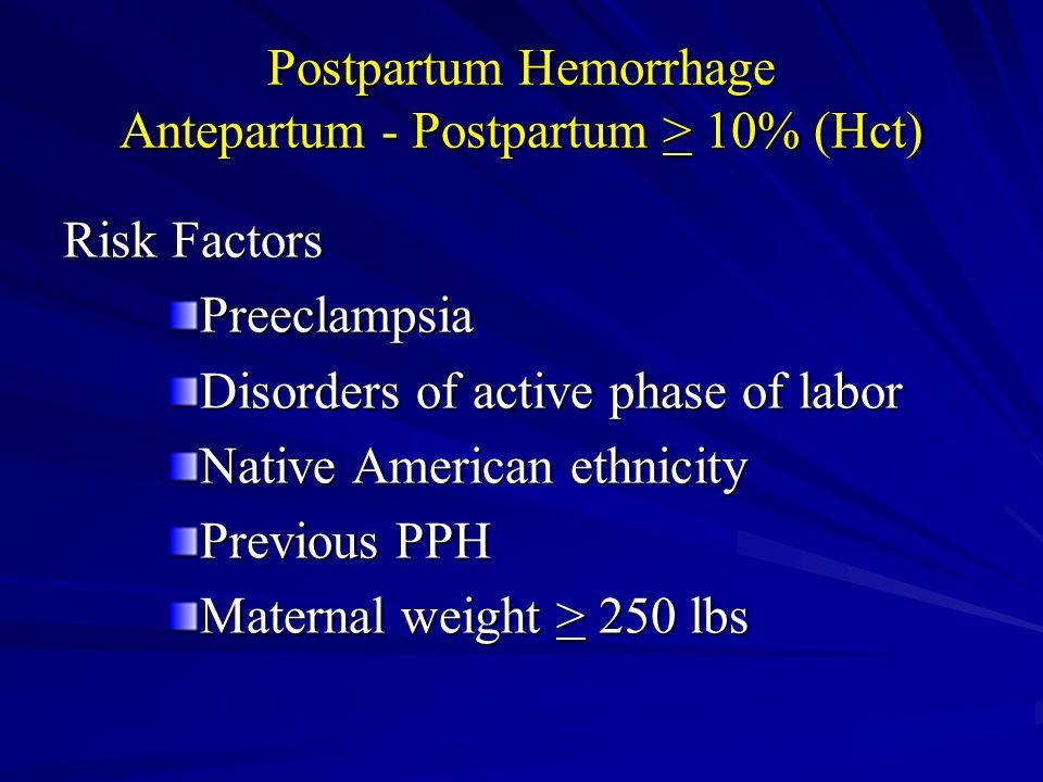 Postpartum Hemorrhage Antepartum - Postpartum > 10% (Hct)