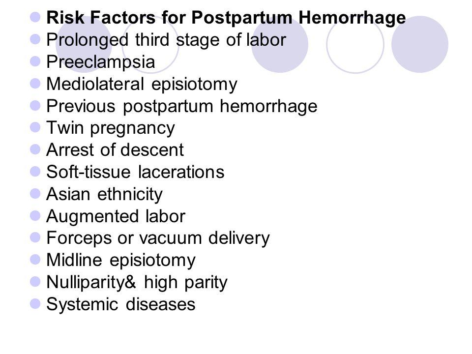 Risk Factors for Postpartum Hemorrhage