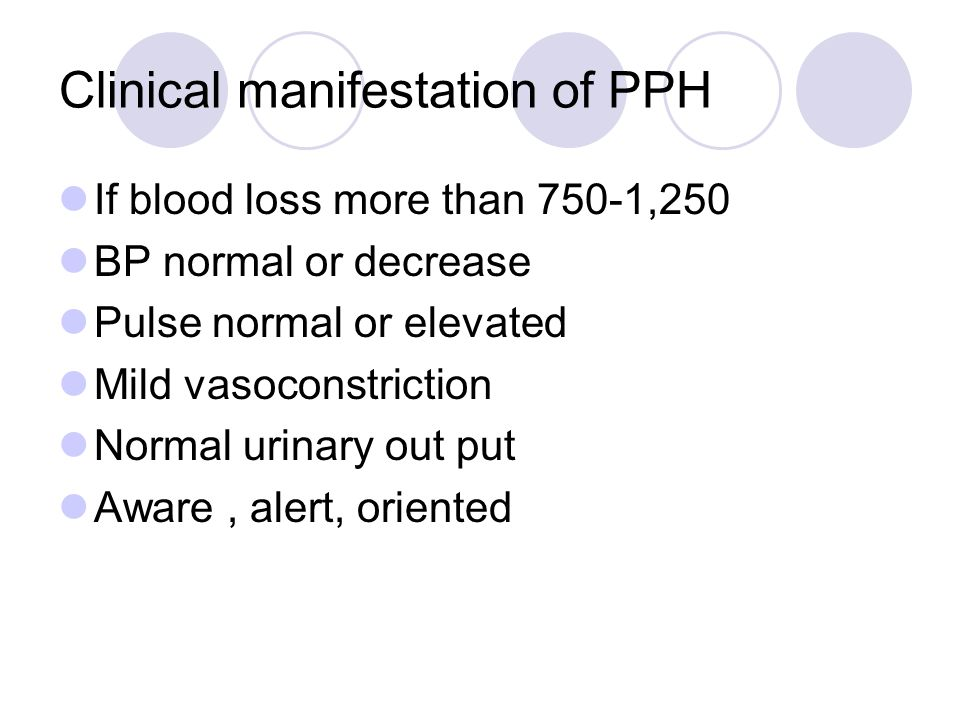 Clinical manifestation of PPH