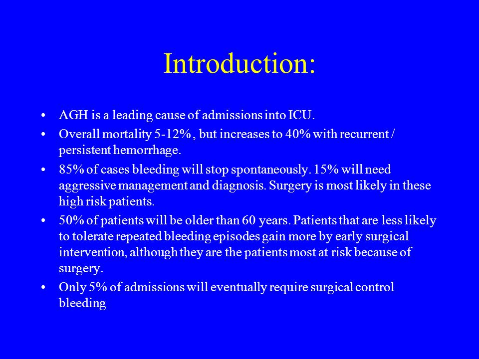 Introduction: AGH is a leading cause of admissions into ICU.