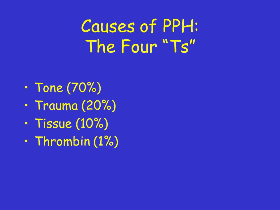 Causes of PPH: The Four Ts