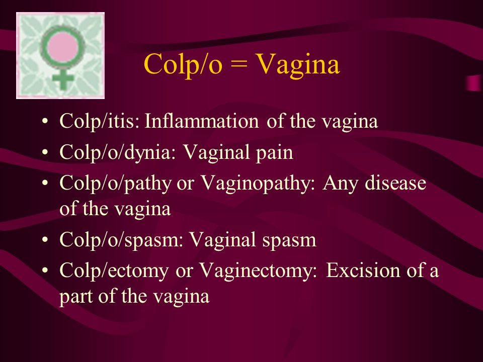 Colp/o = Vagina Colp/itis: Inflammation of the vagina