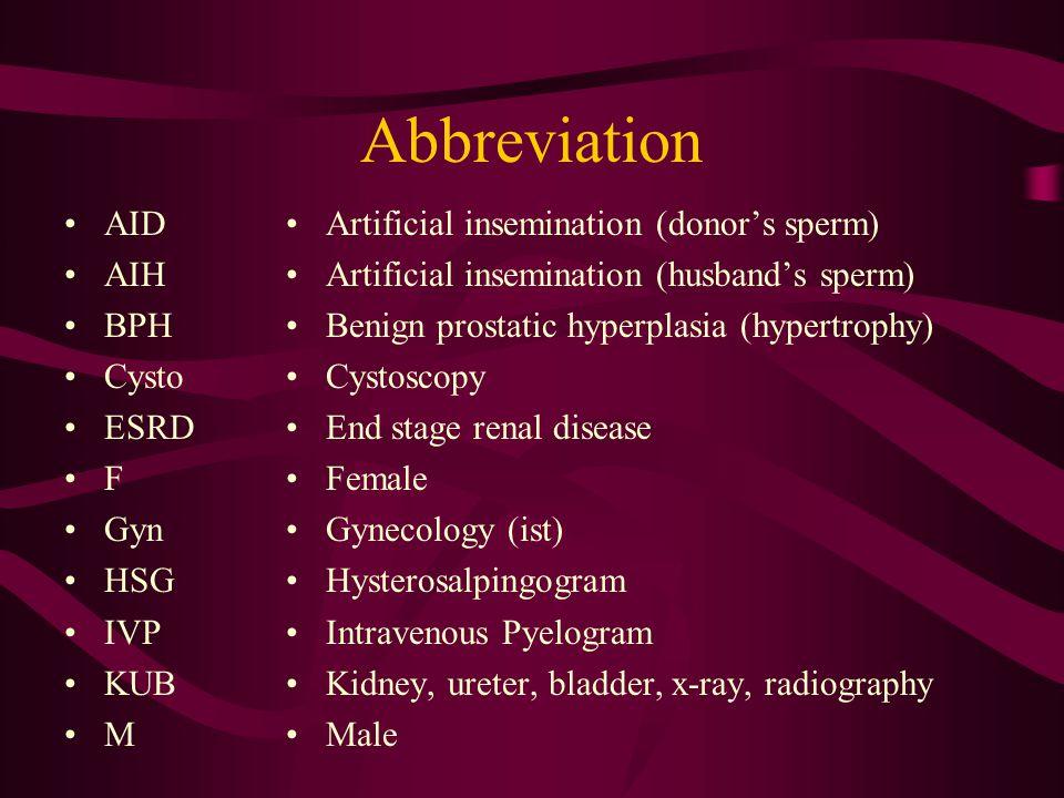 Abbreviation AID AIH BPH Cysto ESRD F Gyn HSG IVP KUB M