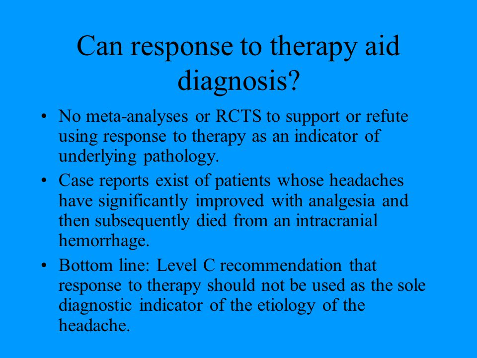 Can response to therapy aid diagnosis