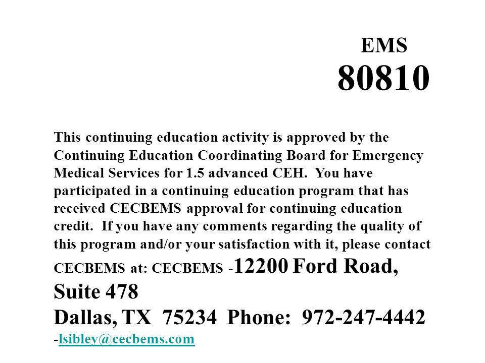 80810 EMS Dallas, TX 75234 Phone: 972-247-4442 -lsibley@cecbems.com