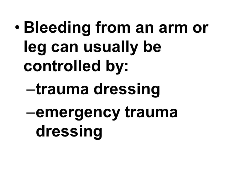 Bleeding from an arm or leg can usually be controlled by: