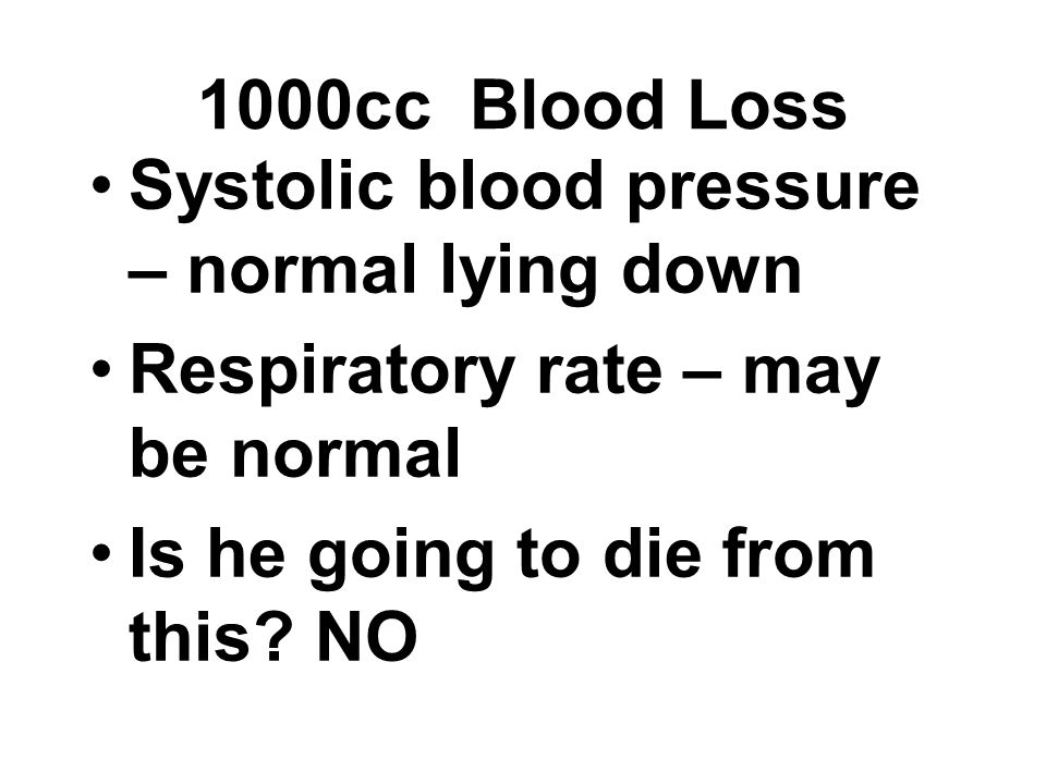 1000cc Blood Loss Systolic blood pressure – normal lying down.