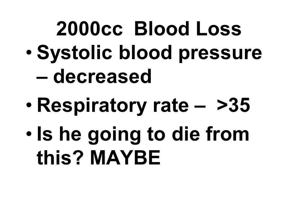 2000cc Blood Loss Systolic blood pressure – decreased.