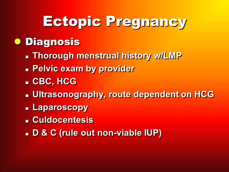 Ectopic Pregnancy Diagnosis Thorough menstrual history w/LMP