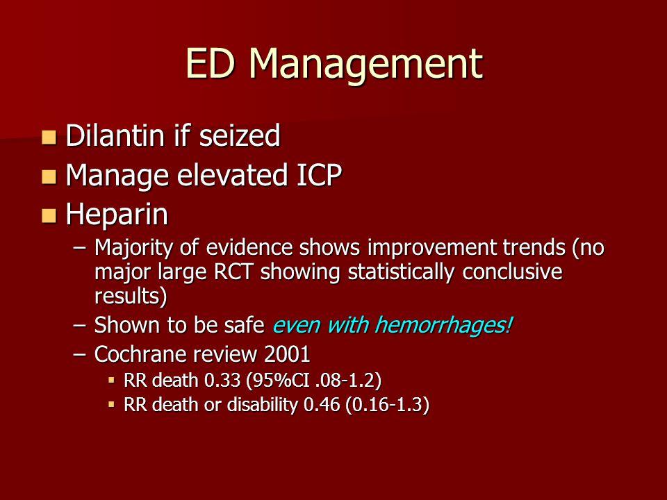 ED Management Dilantin if seized Manage elevated ICP Heparin