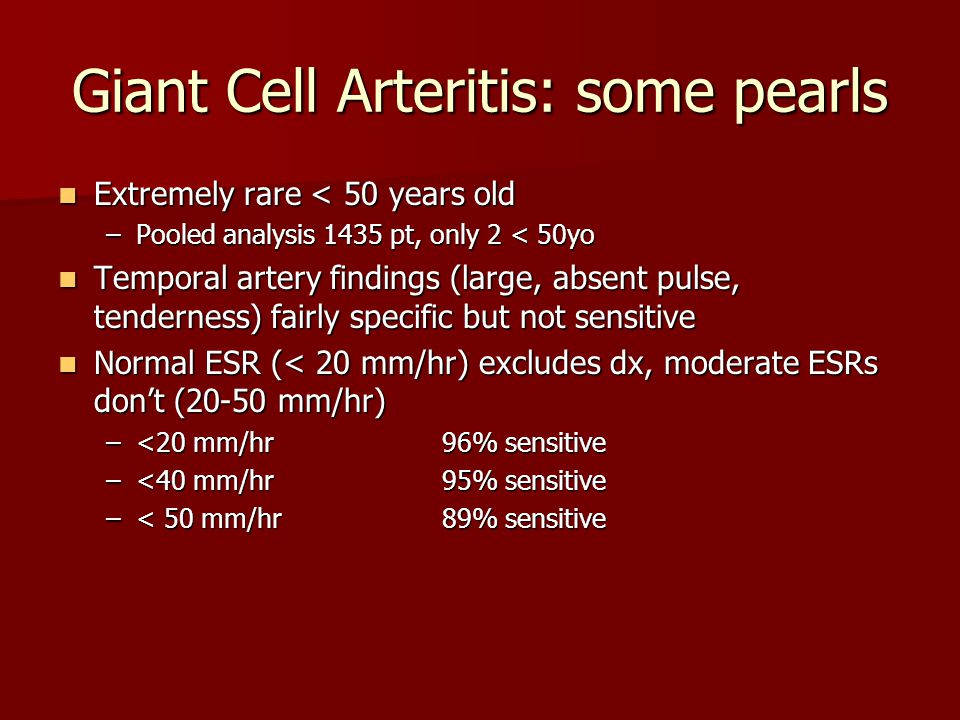 Giant Cell Arteritis: some pearls