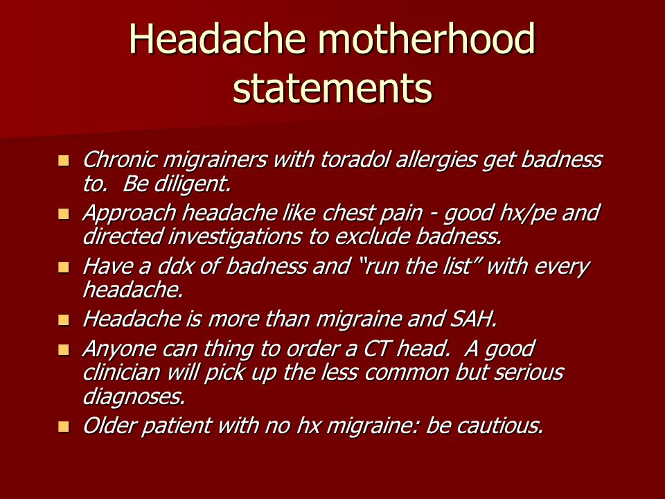 Headache motherhood statements