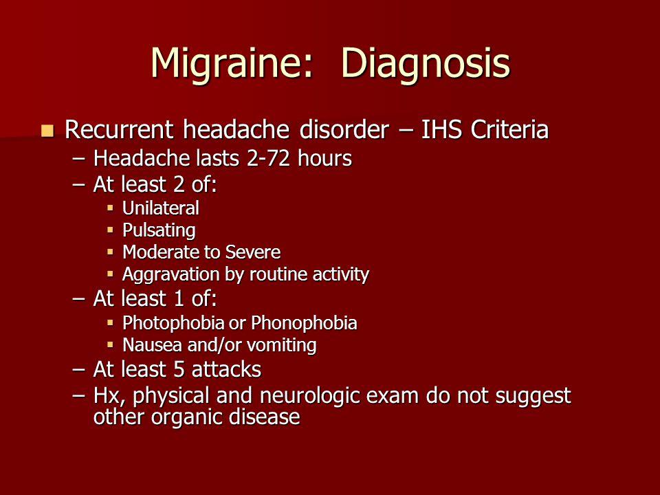 Migraine: Diagnosis Recurrent headache disorder – IHS Criteria