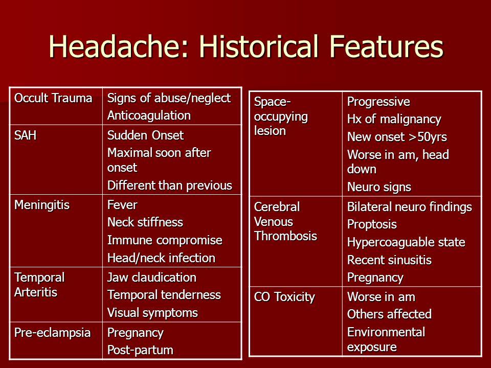 Headache: Historical Features