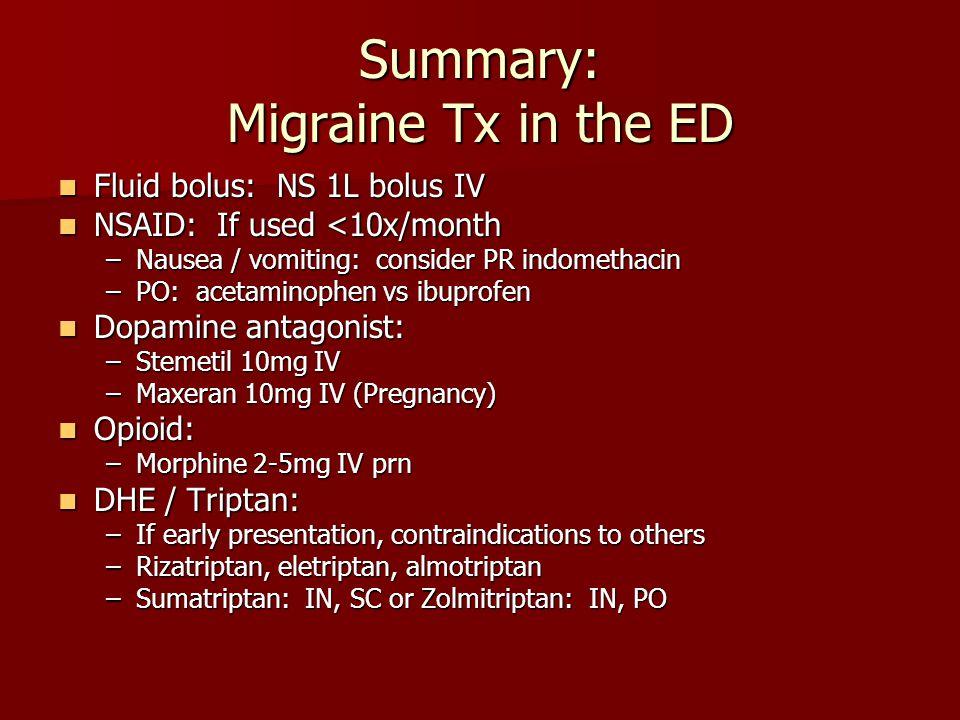 Summary: Migraine Tx in the ED