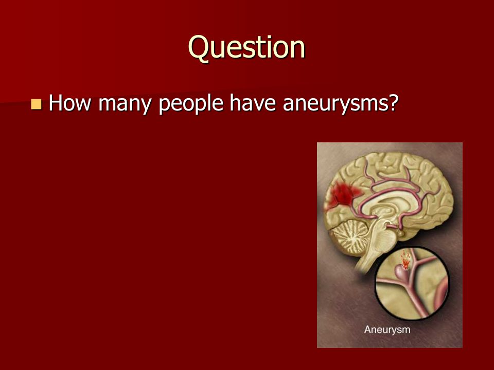 Question How many people have aneurysms