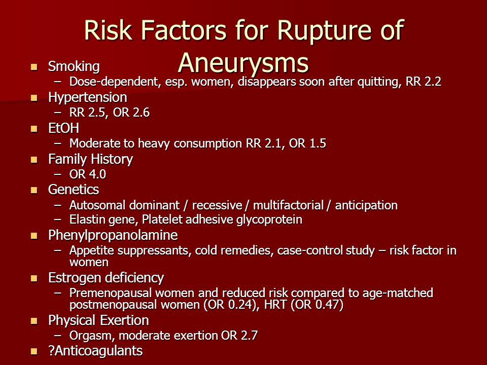 Risk Factors for Rupture of Aneurysms