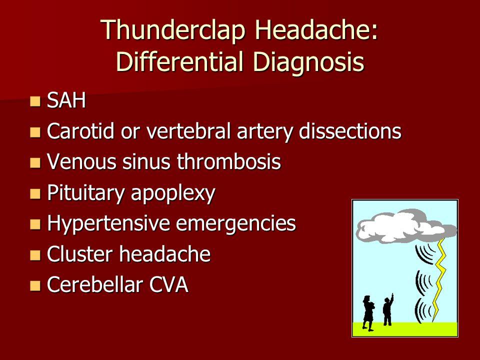 Thunderclap Headache: Differential Diagnosis