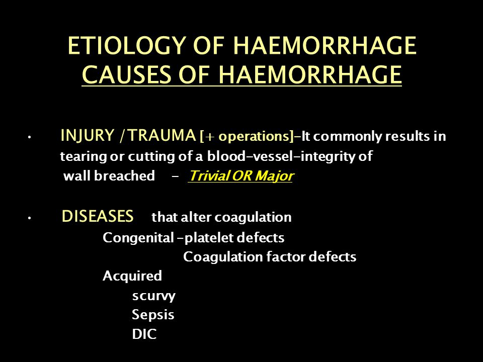 ETIOLOGY OF HAEMORRHAGE CAUSES OF HAEMORRHAGE