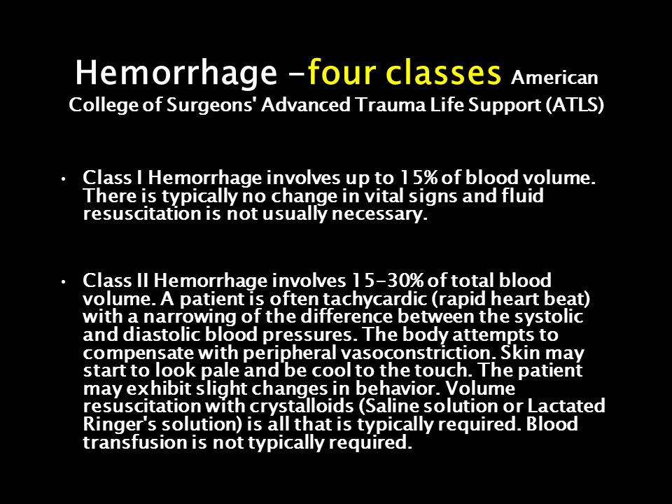 Hemorrhage -four classes American College of Surgeons Advanced Trauma Life Support (ATLS)