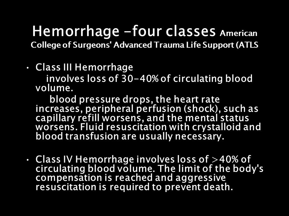 Hemorrhage -four classes American College of Surgeons Advanced Trauma Life Support (ATLS