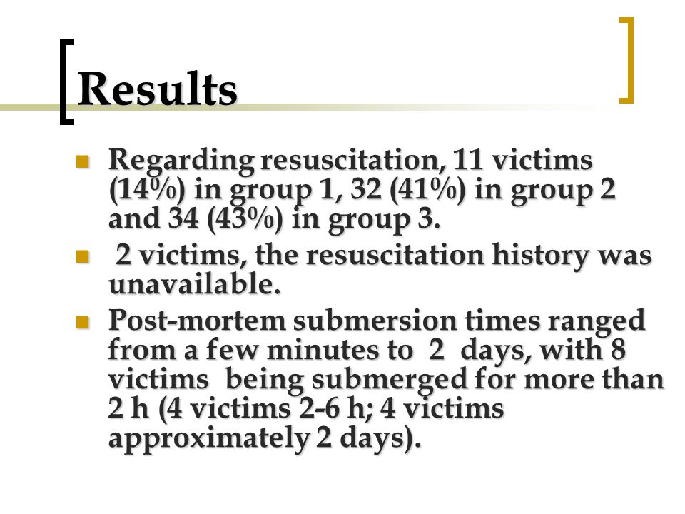 Results Regarding resuscitation, 11 victims (14%) in group 1, 32 (41%) in group 2 and 34 (43%) in group 3.