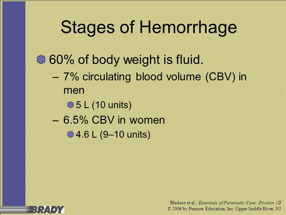 Stages of Hemorrhage 60% of body weight is fluid.
