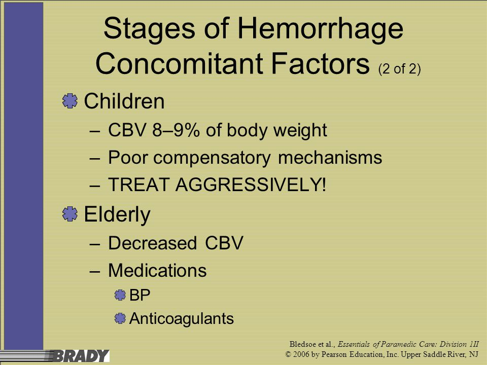 Stages of Hemorrhage Concomitant Factors (2 of 2)