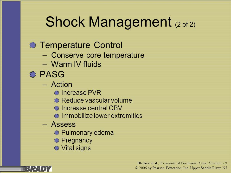 Shock Management (2 of 2) Temperature Control PASG