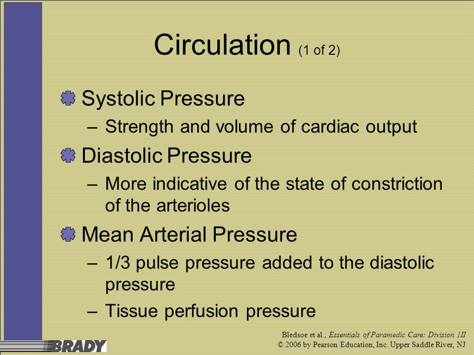 Circulation (1 of 2) Systolic Pressure Diastolic Pressure