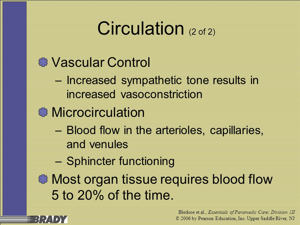 Circulation (2 of 2) Vascular Control Microcirculation
