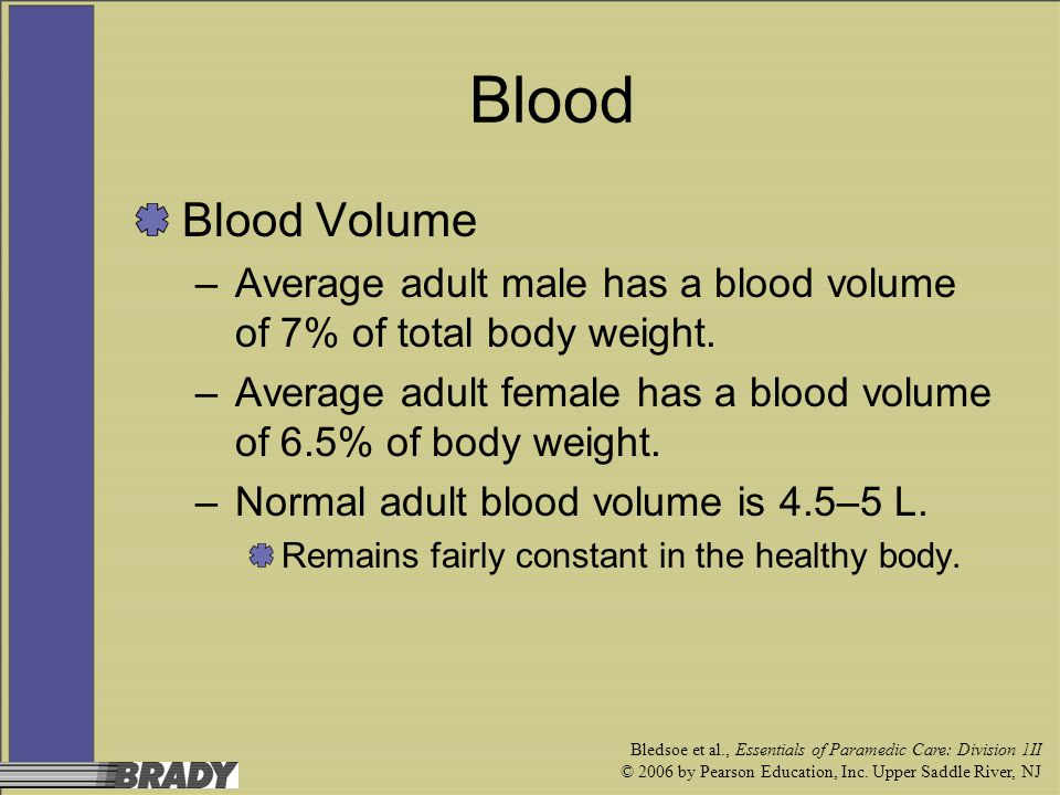 Blood Blood Volume. Average adult male has a blood volume of 7% of total body weight.