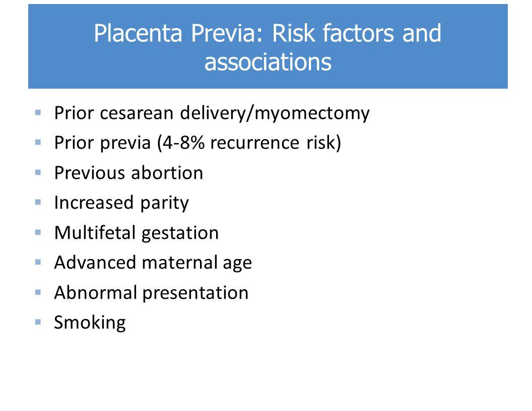 Placenta Previa: Risk factors and associations