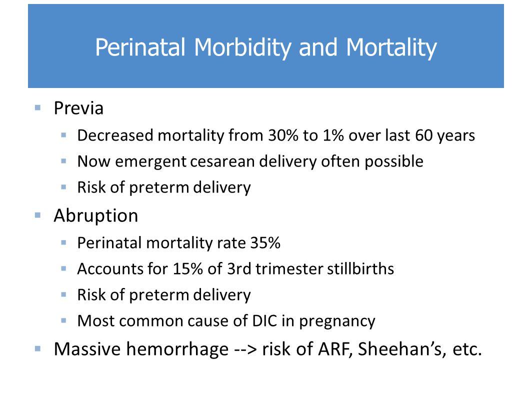 Perinatal Morbidity and Mortality