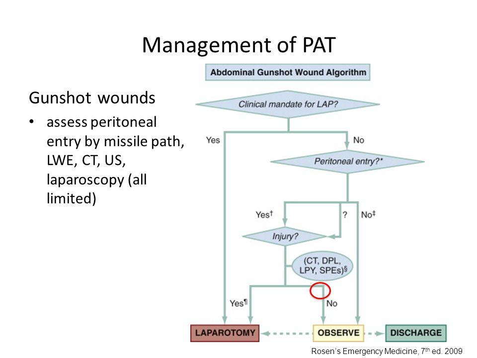Management of PAT Gunshot wounds