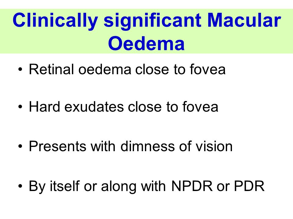 Clinically significant Macular Oedema
