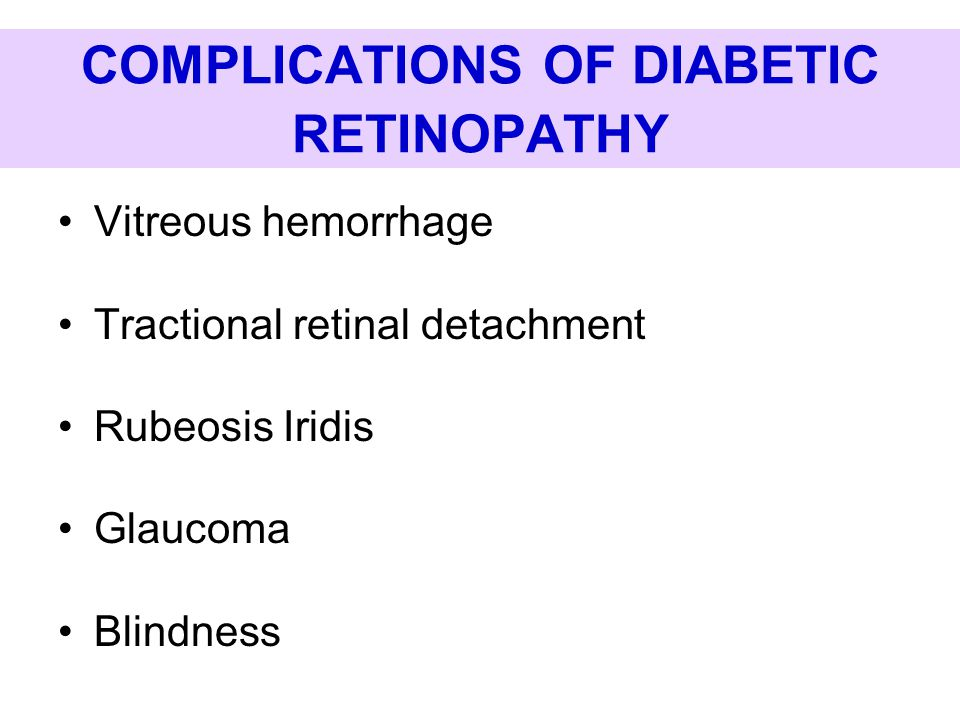 COMPLICATIONS OF DIABETIC RETINOPATHY