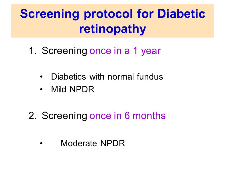 Screening protocol for Diabetic retinopathy