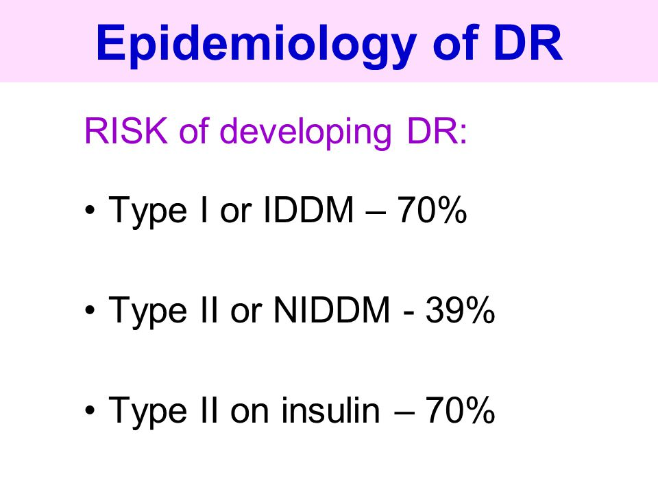 Epidemiology of DR RISK of developing DR: Type I or IDDM – 70%